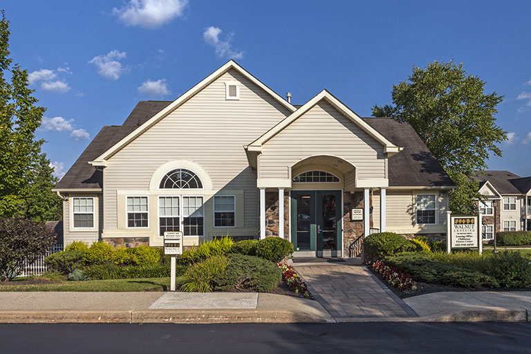 Exterior of Walnut Crossing clubhouse in Royersford, PA